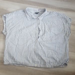 White collared crop top with light blue stripes